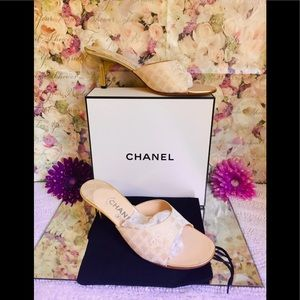 Authentic Chanel gold infused sandals